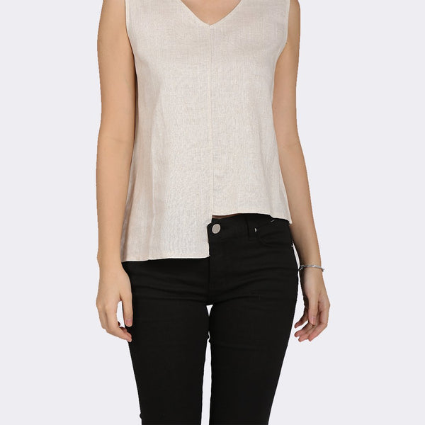 Heraposh  Tops Free Size / Cream Hwasa Sleeveless Top with Belt HP-T000147