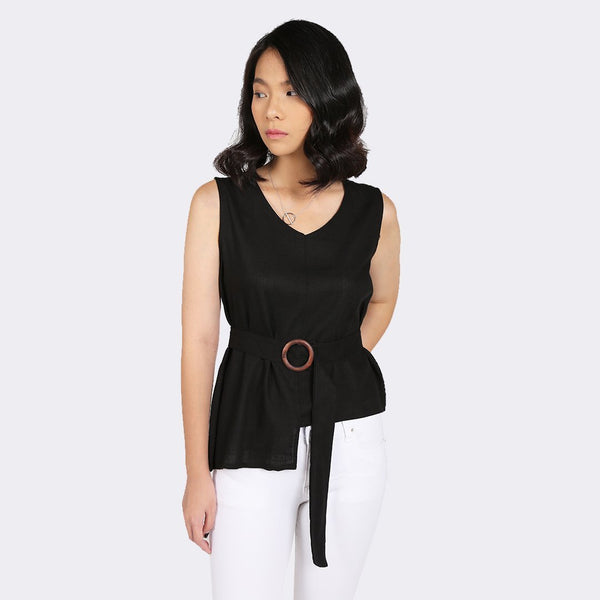 Heraposh  Tops Free Size / Black Hwasa Sleeveless Top with Belt HP-T000147