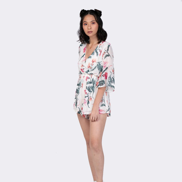 Heraposh  Others Free Size / White Hyolin Floral Romper HP-J000009