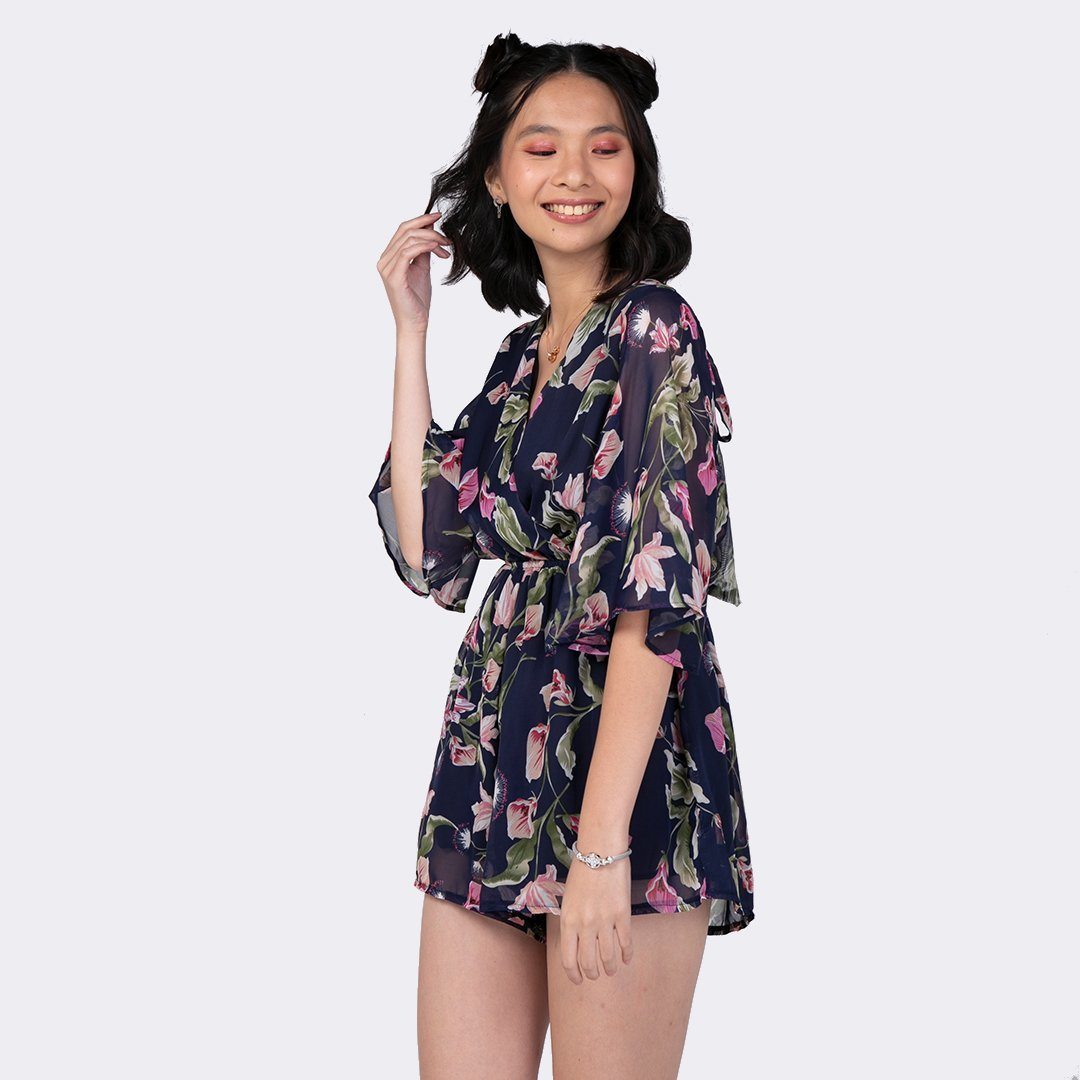 Heraposh  Others Free Size / Navy Blue Hyolin Floral Romper HP-J000009