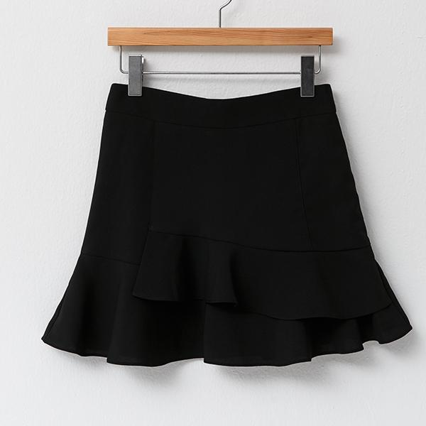 Heraposh  Bottoms Small / Black Jean A-line Ruffled Twill Skirt HP-B000022