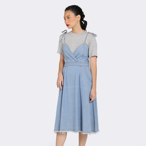 Heraposh  Dresses Free Size / Light Blue Jooe Denim Dress HP-D000048