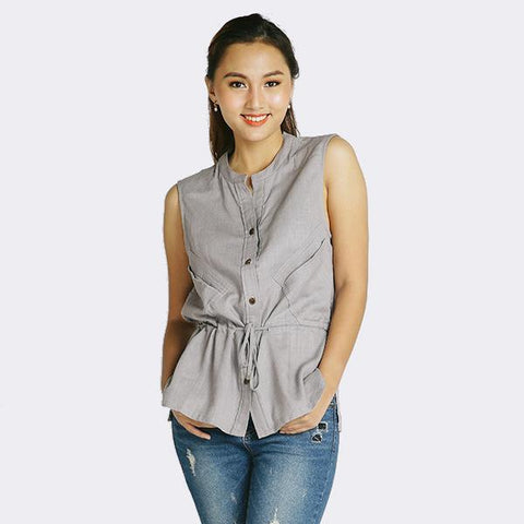Heraposh  Tops Free Size / Gray Julienne Vest Top HP-T000117