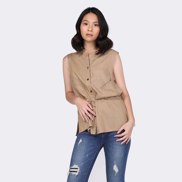 Heraposh  Tops Free Size / Brown Julienne Vest Top HP-T000117