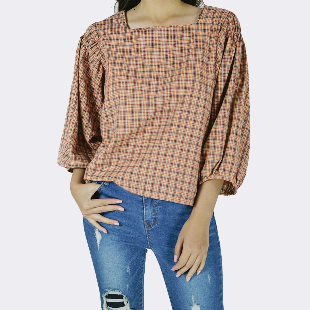 Heraposh  Tops Free Size / Orange Karina Checkered Blouse HP-T000100