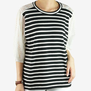 Heraposh  Tops Free Size / Black white stripe Kaye Striped Lace Blouse HP-T000133