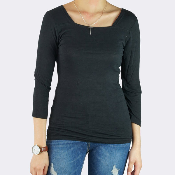 Heraposh  Tops Free Size / Black Lauren Square Neck Top HP-T000098