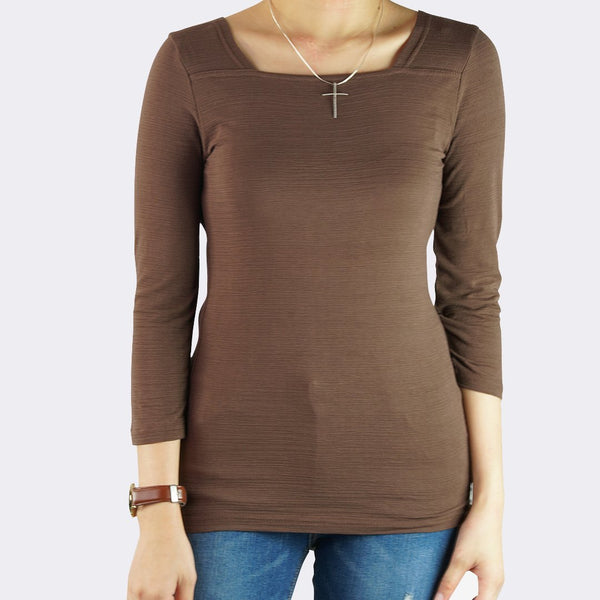 Heraposh  Tops Free Size / Dark Brown Lauren Square Neck Top HP-T000098