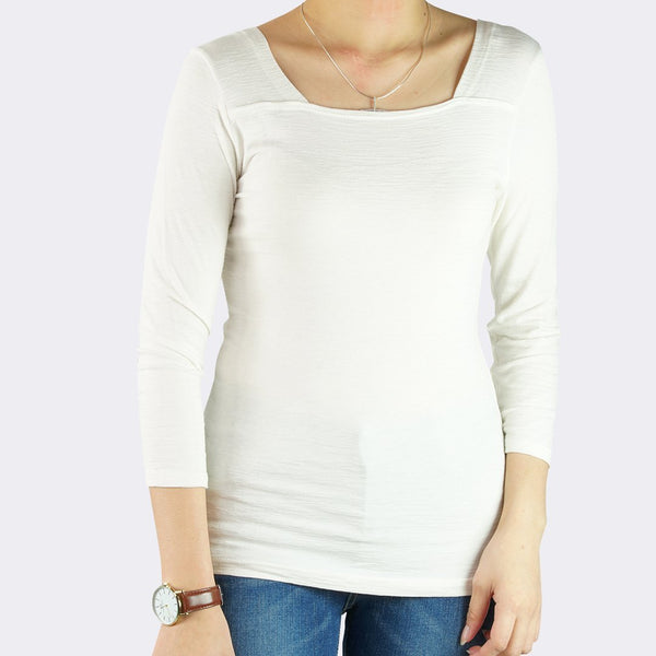 Heraposh  Tops Free Size / White Lauren Square Neck Top HP-T000098