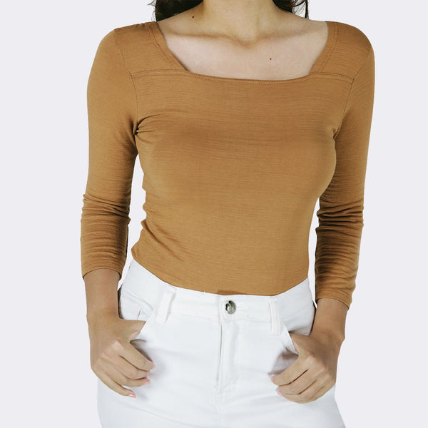 Heraposh  Tops Free Size / Pale Brown Lauren Square Neck Top HP-T000098