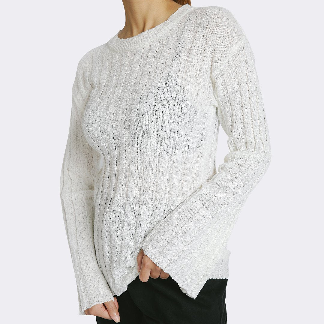 Heraposh  Tops Free Size / White Liffy Knitted Sweater Top HP-T000116