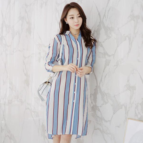 Heraposh  Dress Free Size / Sky Blue Liza Striped Shirt Dress HP-D000018