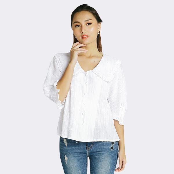 Heraposh  Tops Free Size / White Lucy Flat Collar Blouse HP-T000137