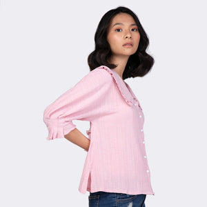 Heraposh  Tops Free Size / Pink Lucy Flat Collar Blouse HP-T000137