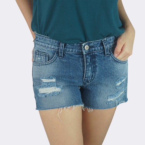 Heraposh  Bottoms Medium / Blue Lucy Ripped Denim Shorts HP-B000005