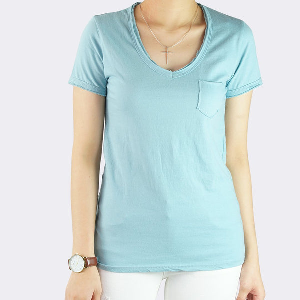 Heraposh  Tops Free Size / Blue Macy V-Neck with Pocket Shirt HP-T000108