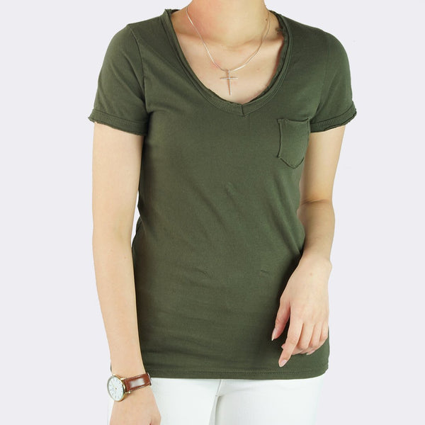 Heraposh  Tops Free Size / Olive Green Macy V-Neck with Pocket Shirt HP-T000108