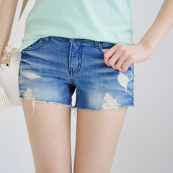 Heraposh  Bottoms Small / Washed Blue Maggie Cute Ripped Denim Shorts HP-B000006