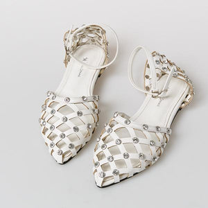 Heraposh  Flats 245 / Black Mallory Studded Sandals HP-S000025