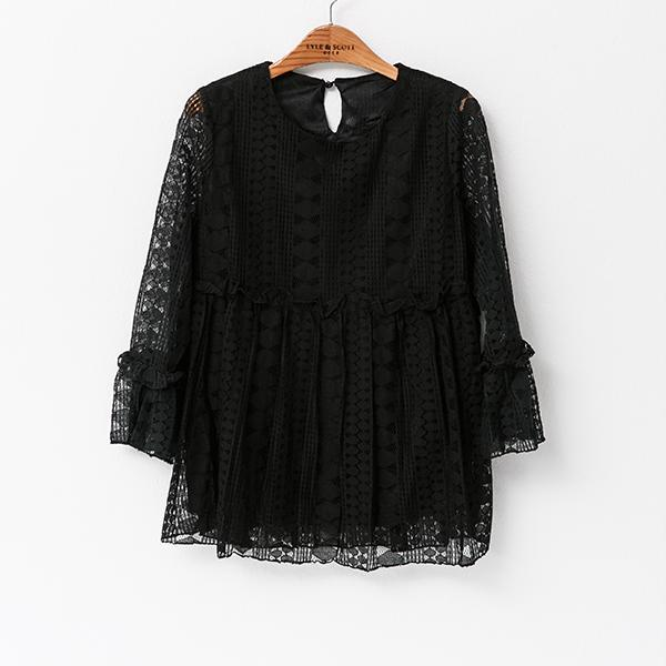 Heraposh  Tops Free Size / Black Lace Margo Lace Blouse HP-T000018