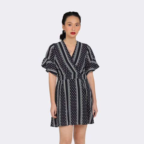 Heraposh Dress Free Size / Black Mina Semi Wrap Dress HP-D000049
