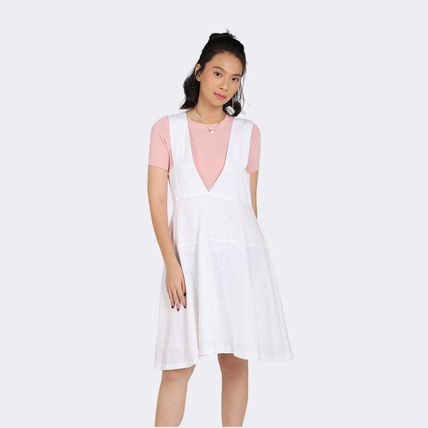 Heraposh  Dresses Free Size / White Minzy V-Cut Dress HP-D000055