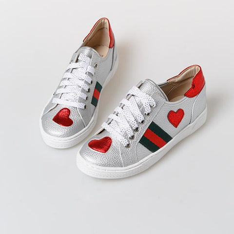 Heraposh  Shoes 230 / Silver Miranda Heart Sneakers HP-S000017