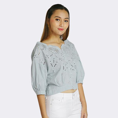 Heraposh  Tops Free Size / Blue Monica Eyelet Crop Top HP-T000131