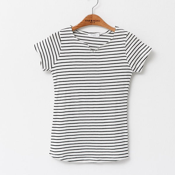 Heraposh  Tops Free Size / White Moyeora Striped Shirt HP-T000043