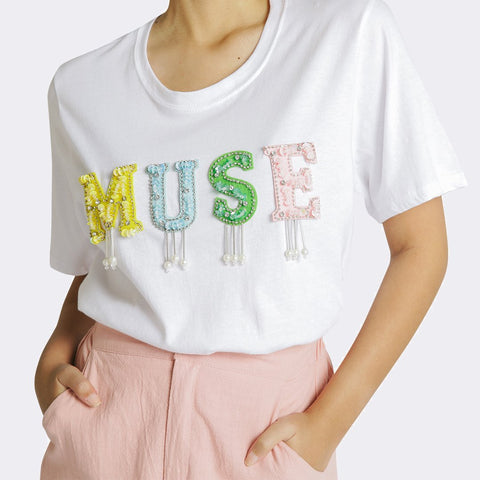 Heraposh  Tops Free Size / White MUSE Embellished Shirt HP-T000121