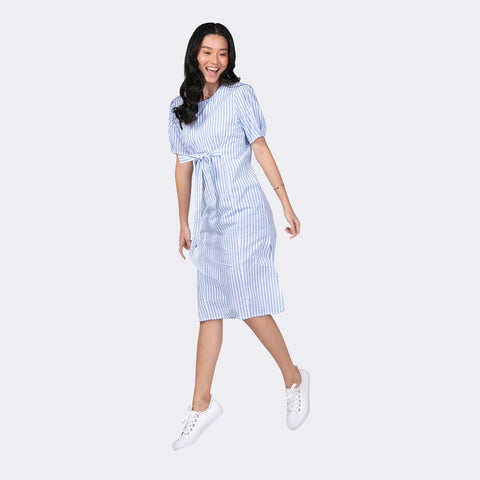 Heraposh  Dress Free Size / Sky Blue Pascal Striped Dress HP-D000037