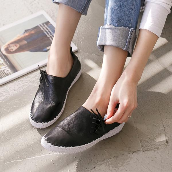 Heraposh  Shoes 230 / Black Phoebe Leather Lace Up Sneakers HP-S000020