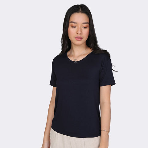 Heraposh  Tops Free / Midnight blue Plain Jen Shirt HP-T000106