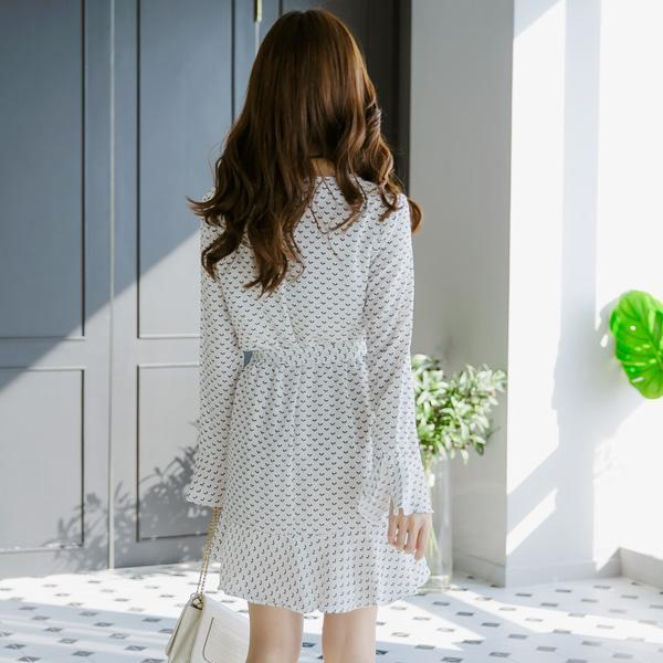 Heraposh  Dress Free Size / White Rain Bell Sleeve Skater Dress HP-D000007