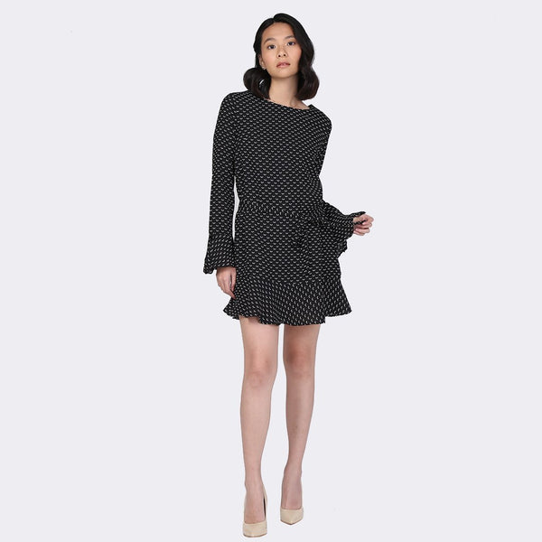 Heraposh  Dress Free Size / Black Rain Bell Sleeve Skater Dress HP-D000007