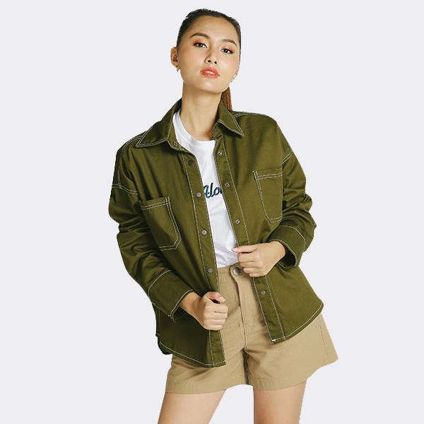 Heraposh  Others Free Size / Dark Moss Green Rory Oversized Jacket HP-T000124