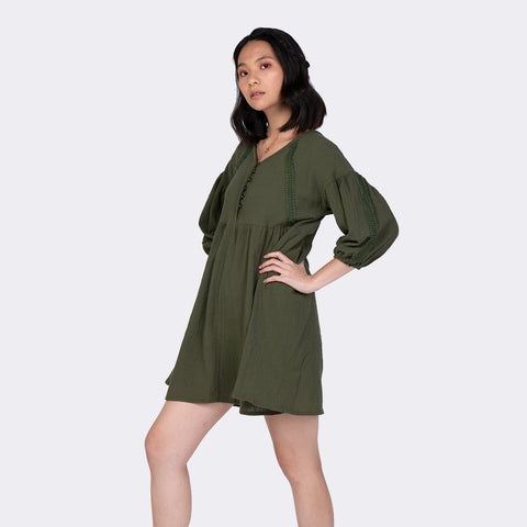 Heraposh  Dress Free Size / Navy Green Sierra Loose A-Line Dress HP-D000012