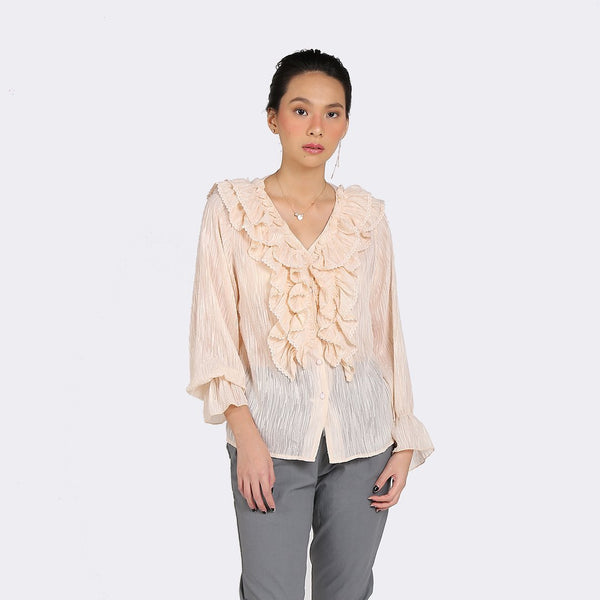 Heraposh Tops Free Size / Light Orange Solji Ruffled Blouse HP-T000153