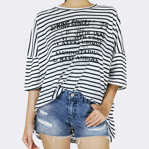 Heraposh  Tops Free Size / Lead Black and White Stripes Spring Shirt HP-T000059