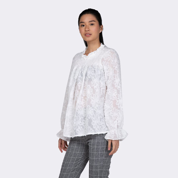 Heraposh  Tops Free Size / White Stacy Ruffled Blouse HP-T000129