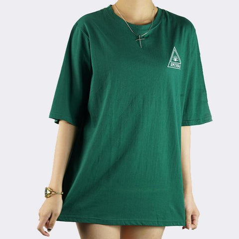 Heraposh  Tops Free Size / Dark Green Sun Round Neck Boyfriend Shirt HP-T000054
