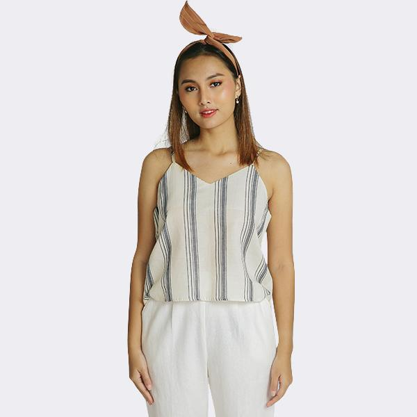 Heraposh  Tops Free Size / Cream with brown stripes Sunny Striped Shirt and Tank Top HP-T000130