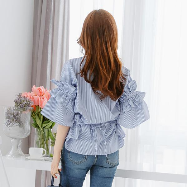 Heraposh  Tops Free Size / Blue Timmy Ruffled Blouse HP-T000077