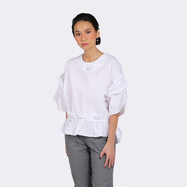 Heraposh  Tops Free Size / White Timmy Ruffled Blouse HP-T000078