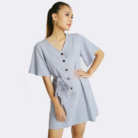 Heraposh  Dresses Free Size / Poweder Blue Trisha Shirt Dress HP-D000039