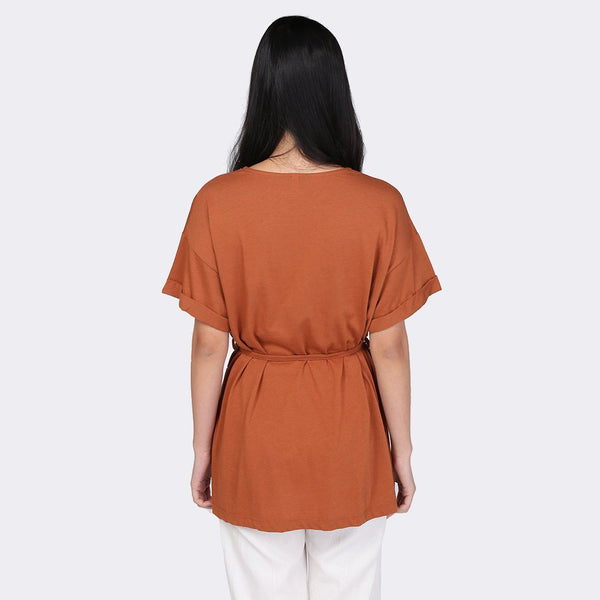 Heraposh  Tops Free Size / Rust Brown Vien Flower String Shirt HP-T000125