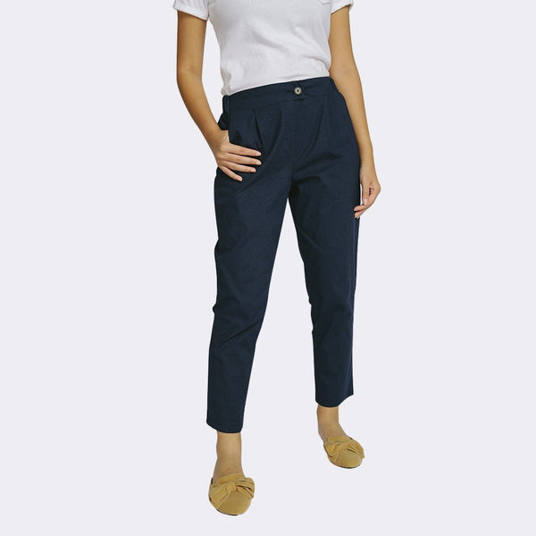 Heraposh  Bottoms Small / Navy Blue Wendy Cigarette Pants HP-B000056
