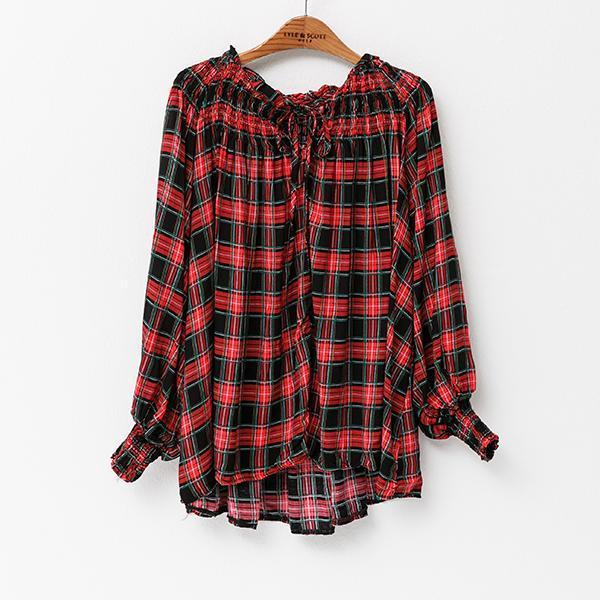 Heraposh  Tops Free Size / Red Willow Checkered Top HP-D000012