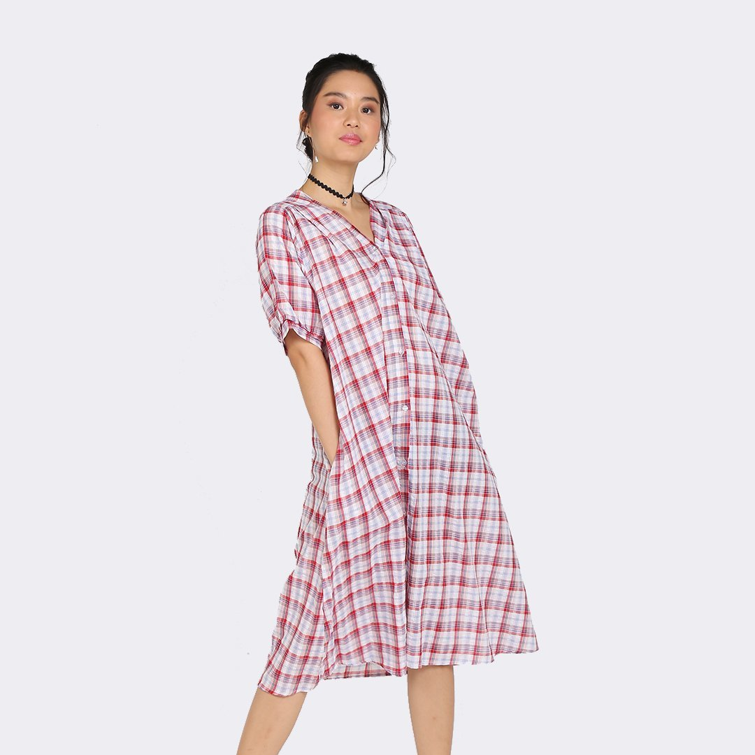 Heraposh Dresses Free Size / Red Yerin Plaid Tent Dress with Belt HP-D000062