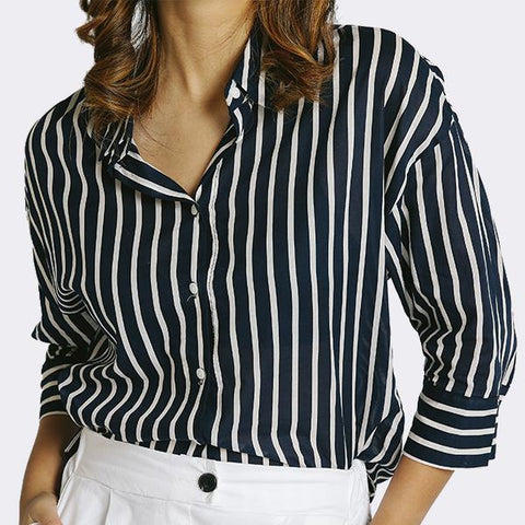 Heraposh  Tops Free Size / Blue Ylona Striped Button Up Shirt HP-T000139